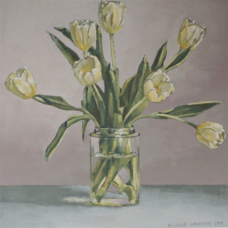Still life oil painting, Tulips, by Nicole Lamothe, Florida artist
