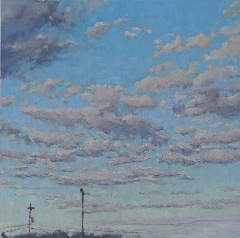 Landscape oil painting, clear winter skyscape by Nicole Lamothe, Apollo Beach, FL
