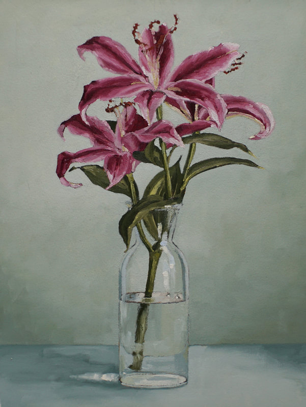 Still life oil painting, Pink lilies by Nicole Lamothe, Florida artist