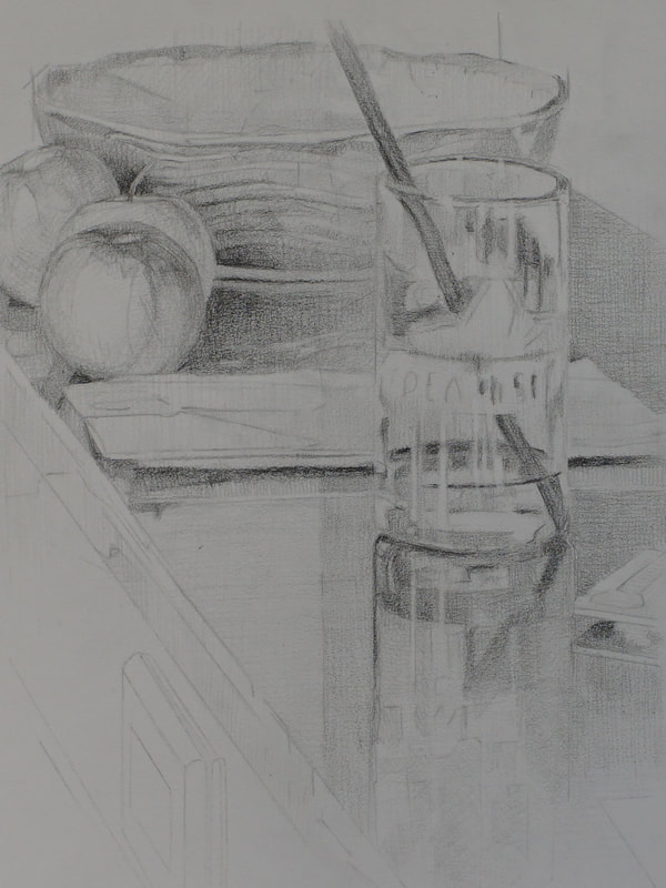Still life graphite drawing by Nicole Lamothe, Apollo Beach, Florida artist