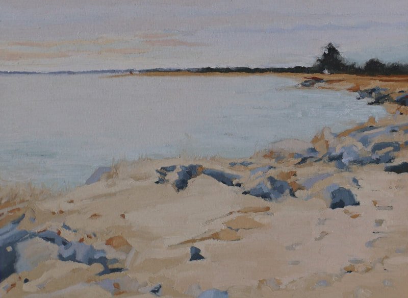Landscape oil painting, December seascape in Salisbury MA, by Nicole Lamothe, Apollo Beach, FL