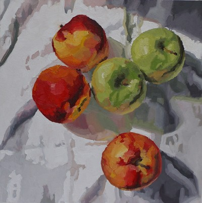 Still life oil painting by Nicole Lamothe, Apollo Beach, Florida artist, vibrant red apples still life