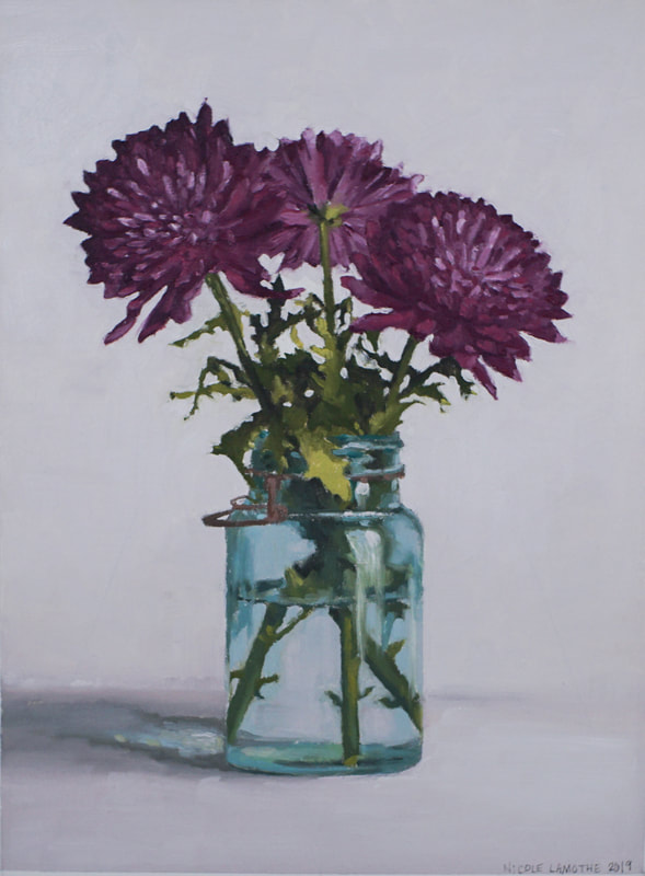 Still life oil painting, Mums, by Nicole Lamothe, Florida artist