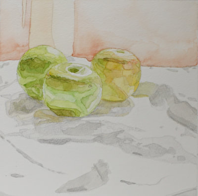 Still life watercolor painting by Nicole Lamothe, Apollo Beach, Florida artist, vibrant green apples