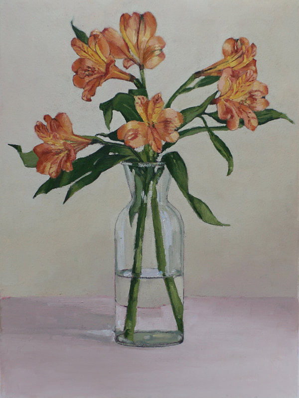 Still life oil painting, red-orange Astras by Nicole Lamothe, Florida artist