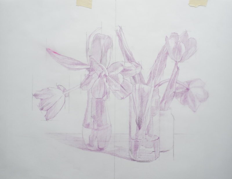 Tulip still life drawing in violet. Original size 11 inches by 14 inches