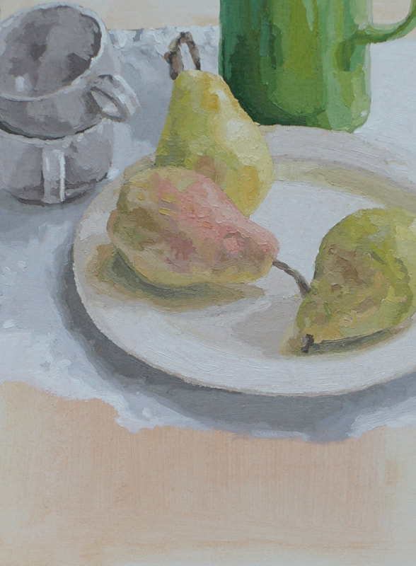 Still life oil painting, pink and green pears by Nicole Lamothe, Apollo Beach, Florida artist