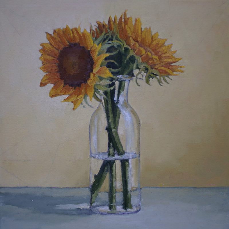 Still life oil painting, sunflowers, by Nicole Lamothe, Florida artist