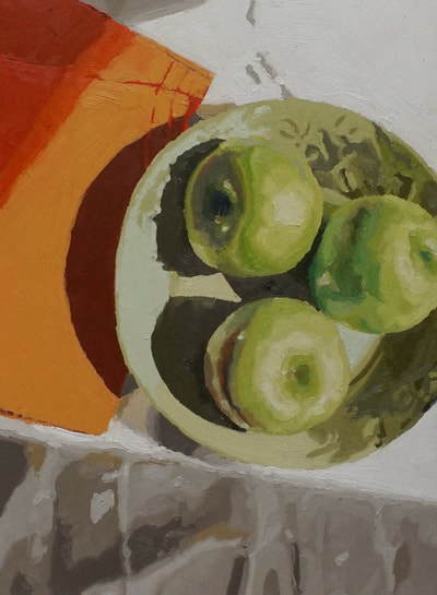 Still life oil painting by Nicole Lamothe, Apollo Beach, Florida artist, vibrant green apples
