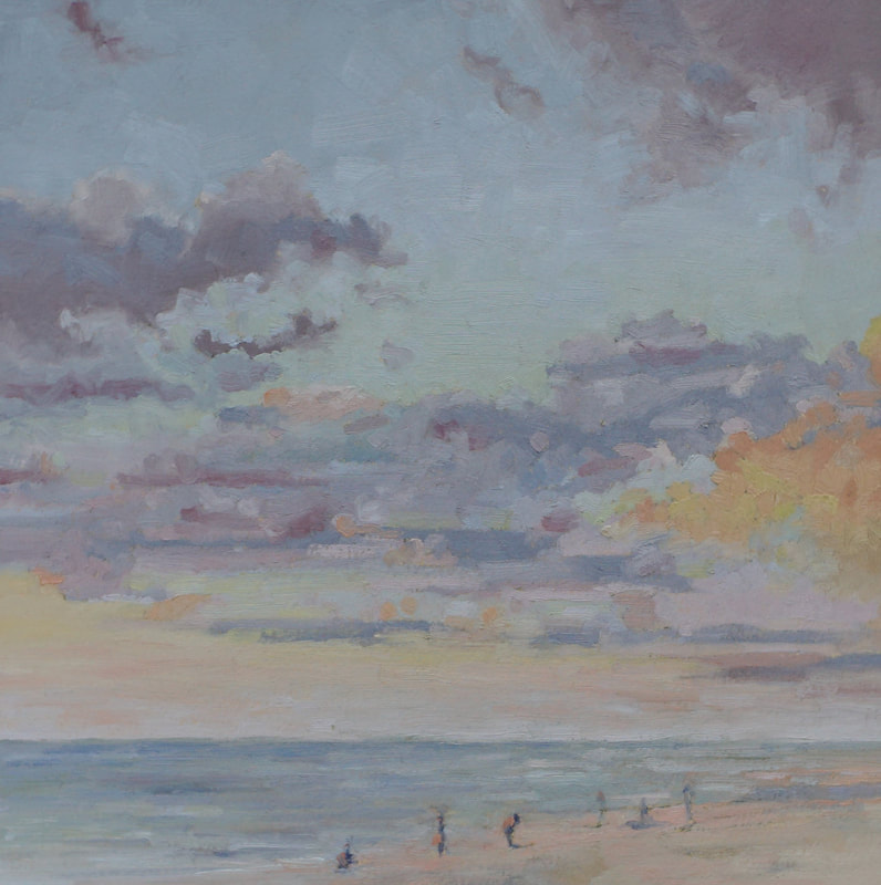 Landscape oil painting, tropical winter seascape Apollo Beach Nature preserve, by Nicole Lamothe