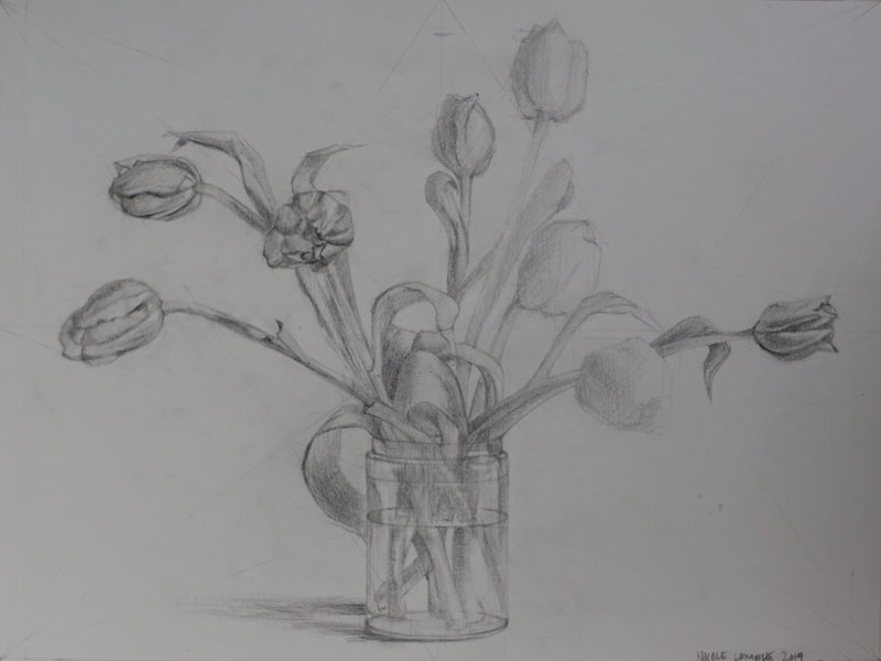 Still life charcoal drawing, Tulips, by Nicole Lamothe, Florida artist