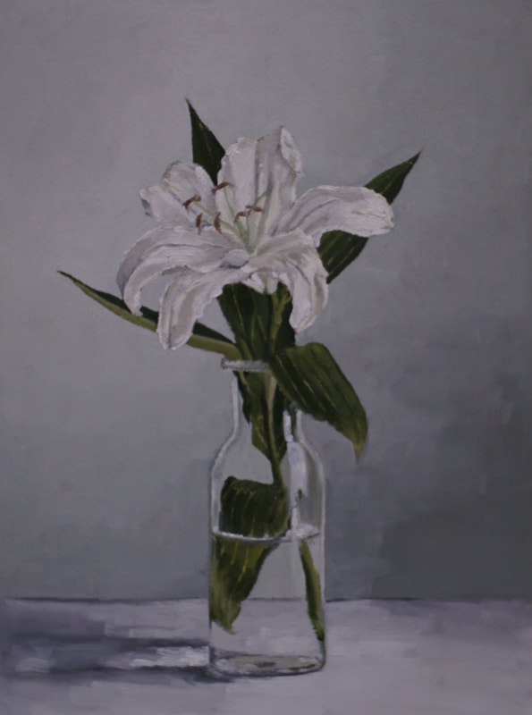 Still life oil painting, White lily flowers by Nicole Lamothe, Florida artist