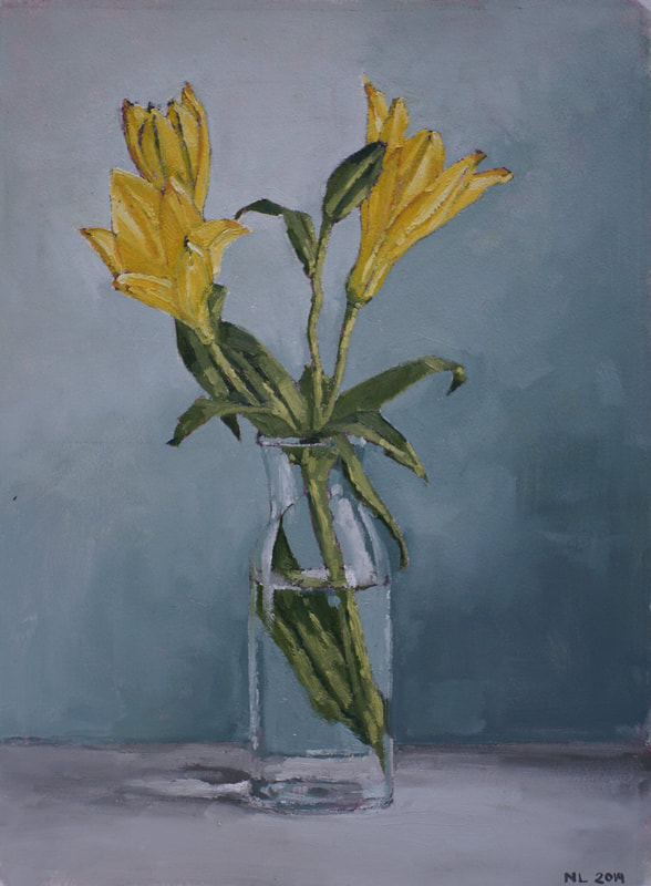 Still life oil painting, yellow lily flowers by Nicole Lamothe, Florida artist